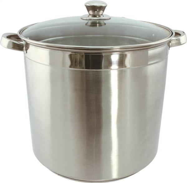 Dura Kleen 3016 Heavy Duty Stock Pot With Glass Lid, 16 qt Capacity, 13 in L x 25 in W x 12 in H, Stainless Steel