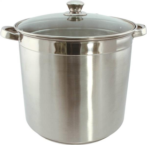 Dura Kleen 3020 Heavy Duty Stock Pot With Glass Lid, 20 qt Capacity, 13 in L x 26 in W x 11 in H, Stainless Steel