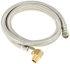 "DISHWASHER CONNECTOR SUPPLY LINE, 3/8"" FIP X 3/8"" COMPRESSION X 60"" LONG WITH ELBOW, STAINLESS STEEL"
