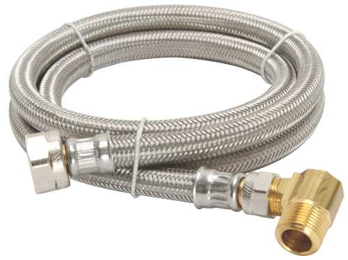 "DISHWASHER CONNECTOR SUPPLY LINE, 1/2"" FIP X 3/8"" COMPRESSION X 48"" LONG WITH ELBOW, STAINLESS STEEL FOR DURAPRO�"