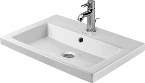 23-5/8 Three Hole Ceramic Drop In Basin White