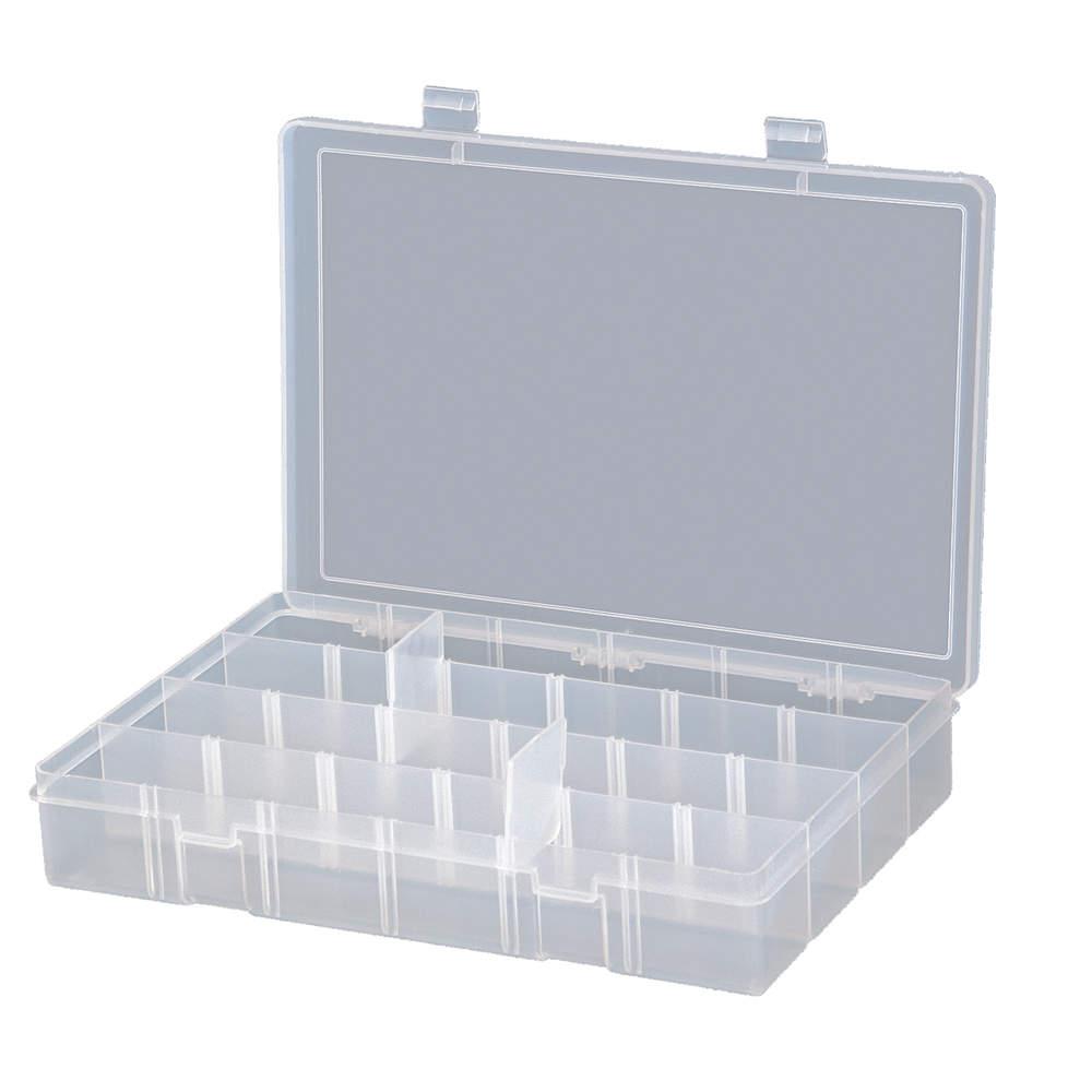 COMPARTMENT BOX ADJUSTABLE PLASTIC CLEAR