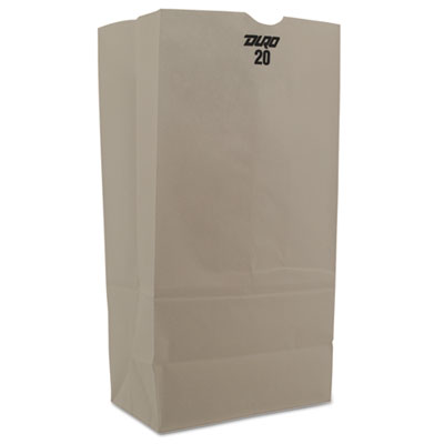 #20 Paper Grocery Bag, 40lb White, Standard 8 1/4 x 5 5/16 x 16 1/8, 500 bags
