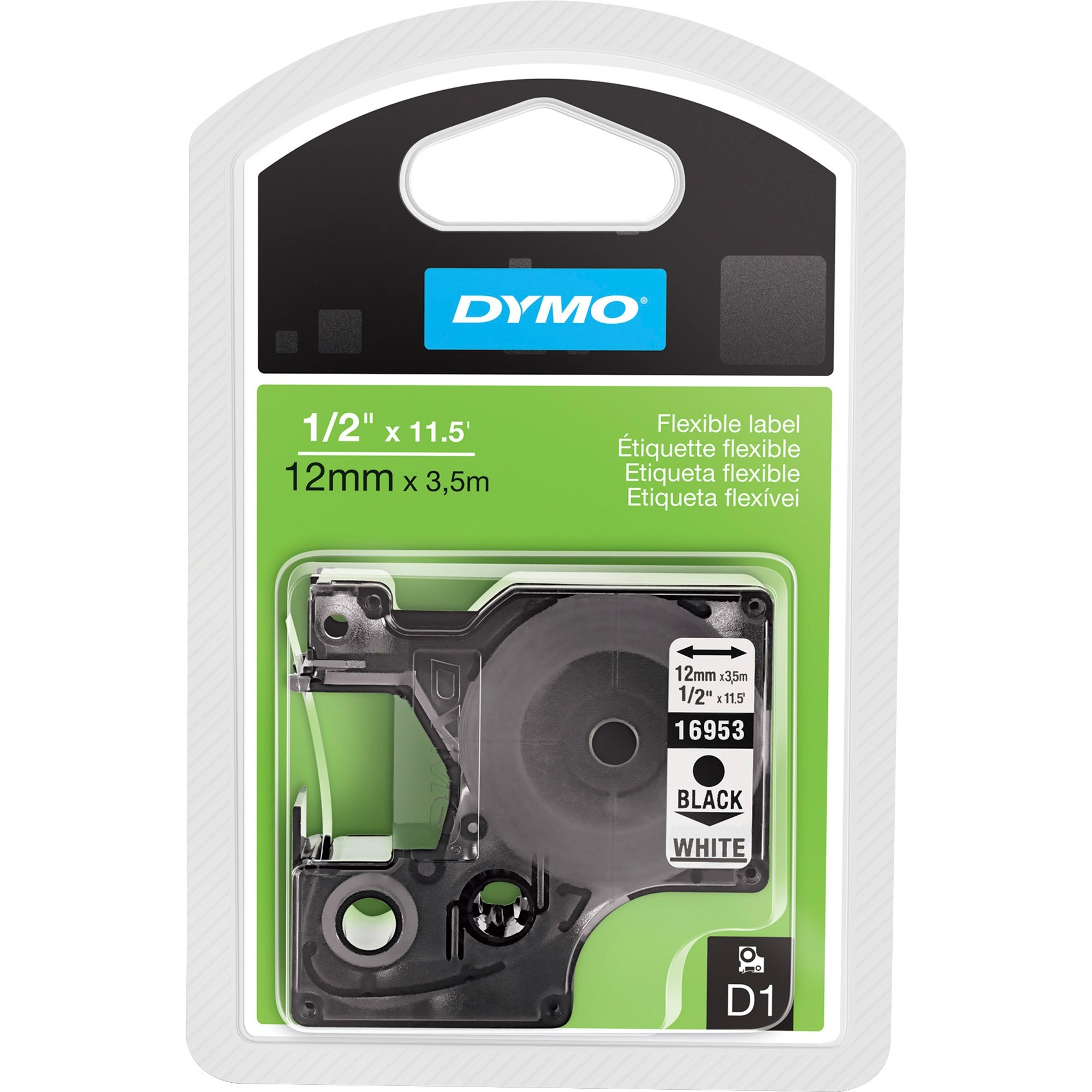 D1 Flexible Nylon Label Maker Tape, 1/2in x 12ft, Black on White