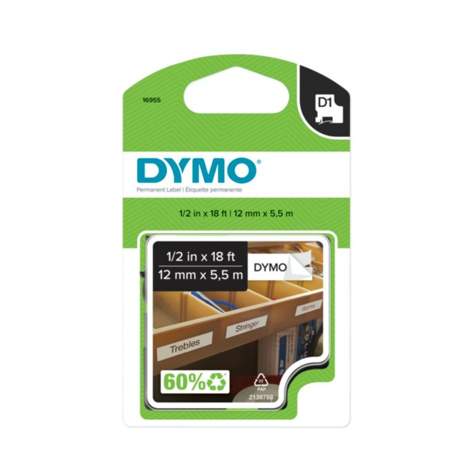 "D1 High-Performance Polyester Permanent Label Tape, 1/2"" x 18 ft, Black on White"