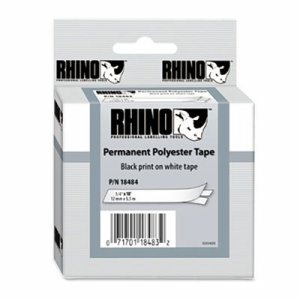 """Rhino Permanent Poly Industrial Label Tape, 3/4"""" x 18 ft, White/Black Print"""