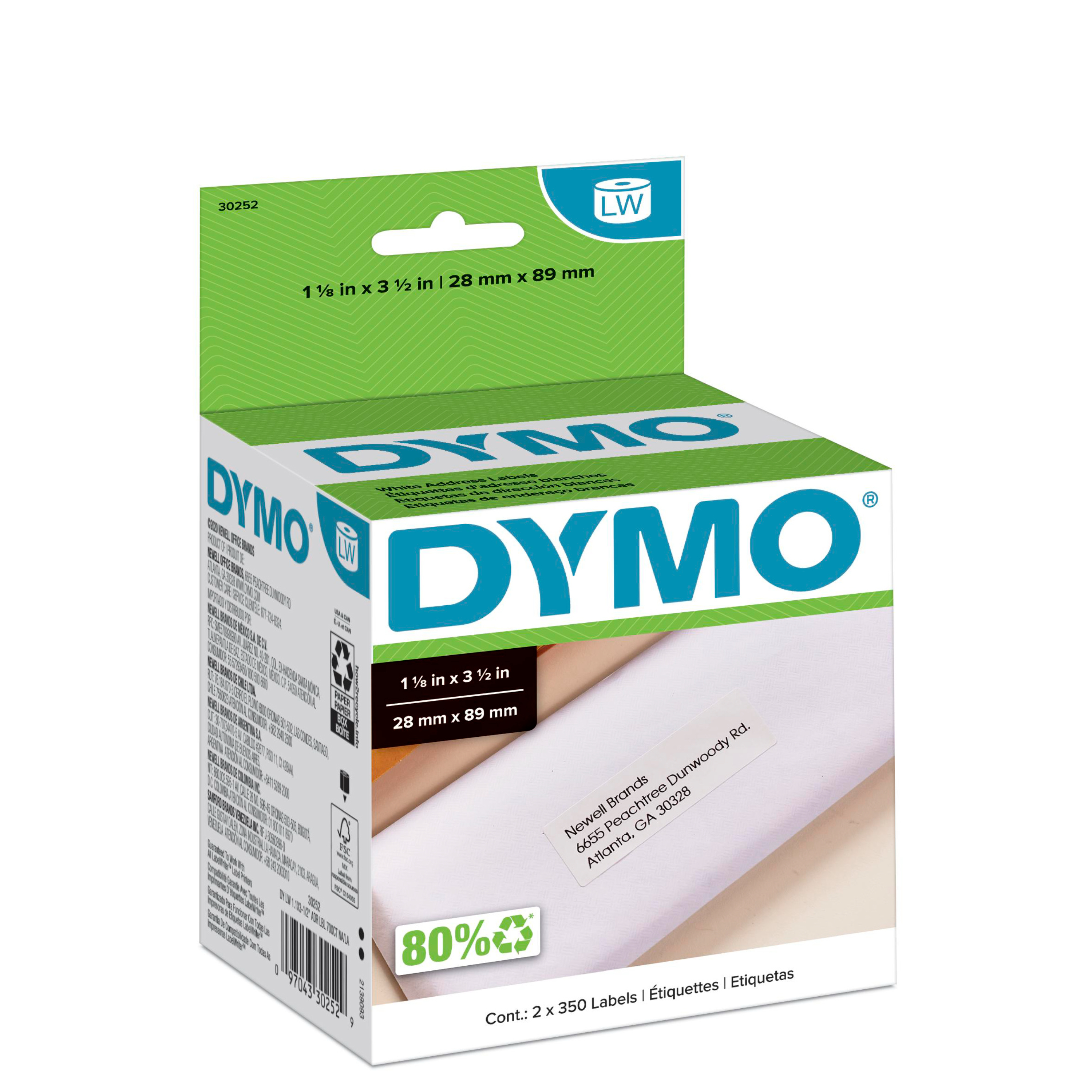 LabelWriter Address Labels, 1 1/8 x 3 1/2, White, 350 Labels/Roll, 2 Rolls/Pack