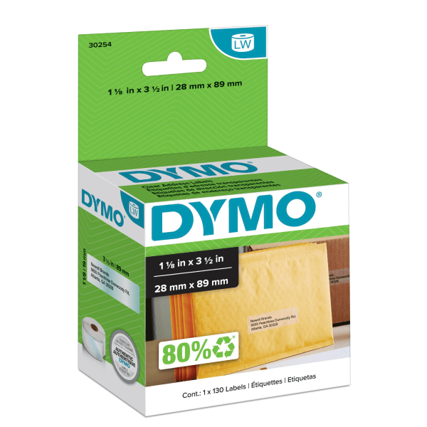 LabelWriter Address Labels, 1 1/8 x 3 1/2, Clear, 130 Labels/Roll