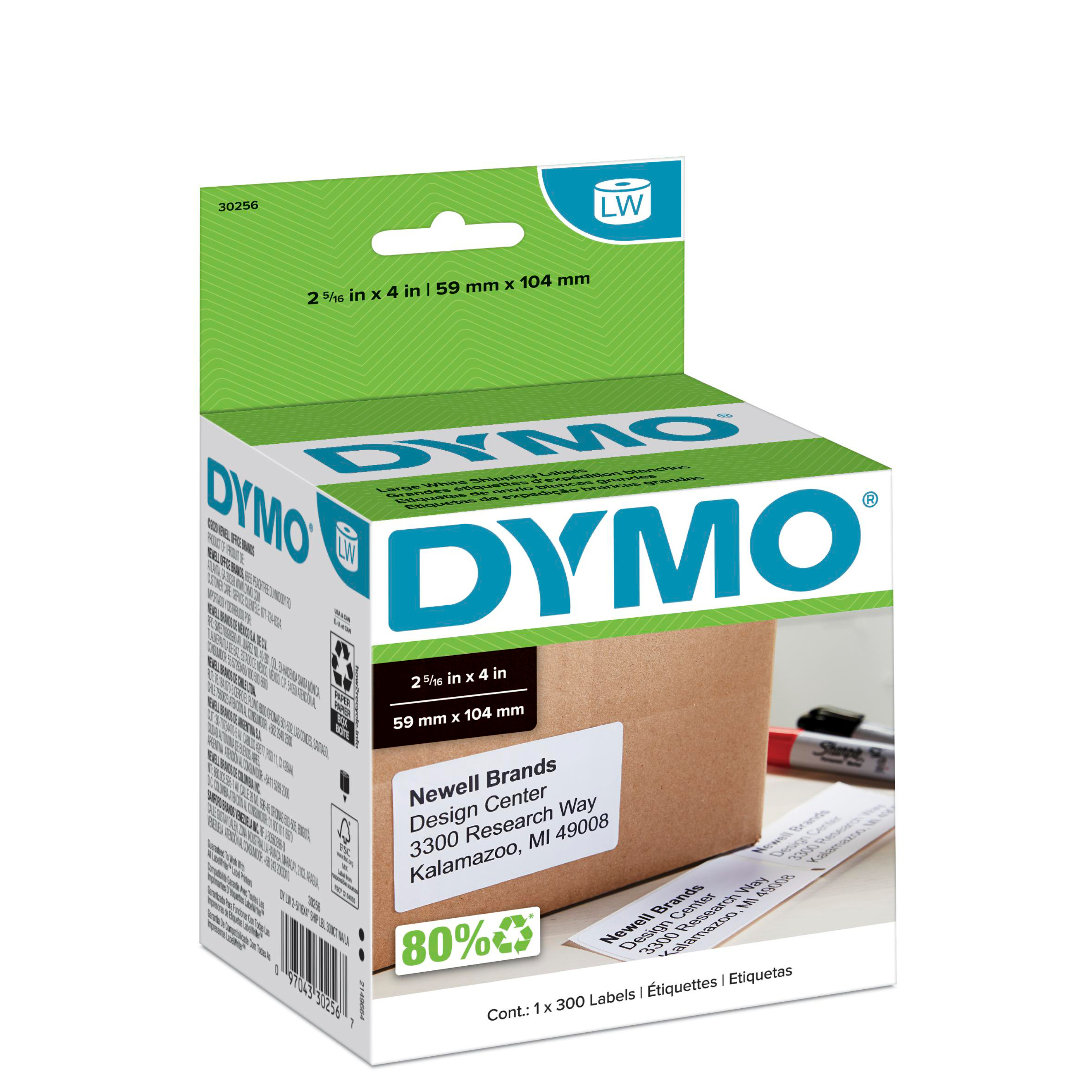 LabelWriter Shipping Labels, 2 5/16 x 4, White, 300 Labels/Roll