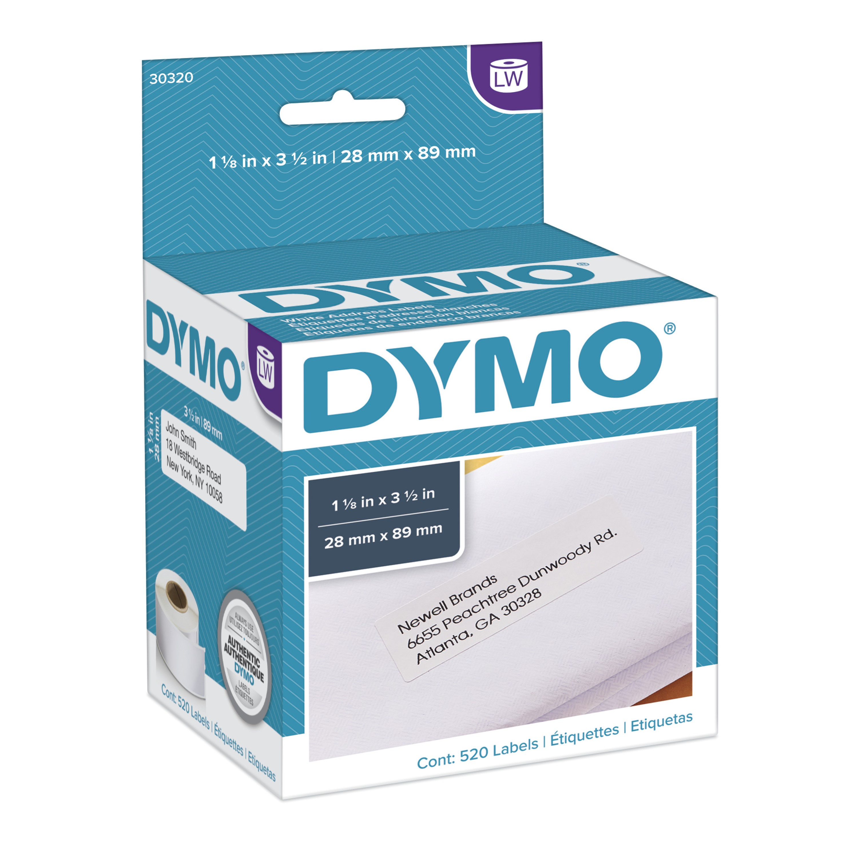 LabelWriter Address Labels, 1 1/8 x 3 1/2, White, 260 Labels/Roll, 2 Rolls/Pack