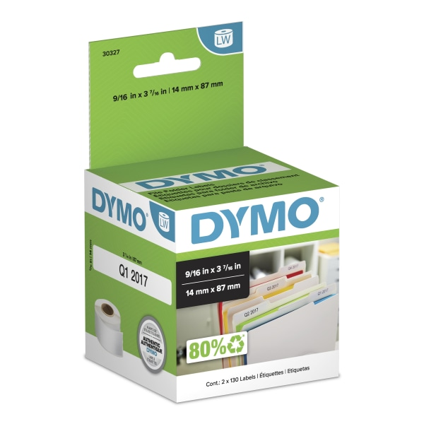 LabelWriter 1-UP File Folder Labels, 9/16 x 3 7/16, White, 130/Roll, 2 RL/PK