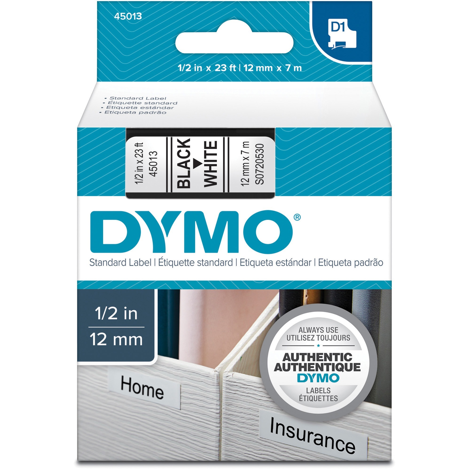"D1 High-Performance Polyester Removable Label Tape, 1/2"" x 23 ft, Black on White"