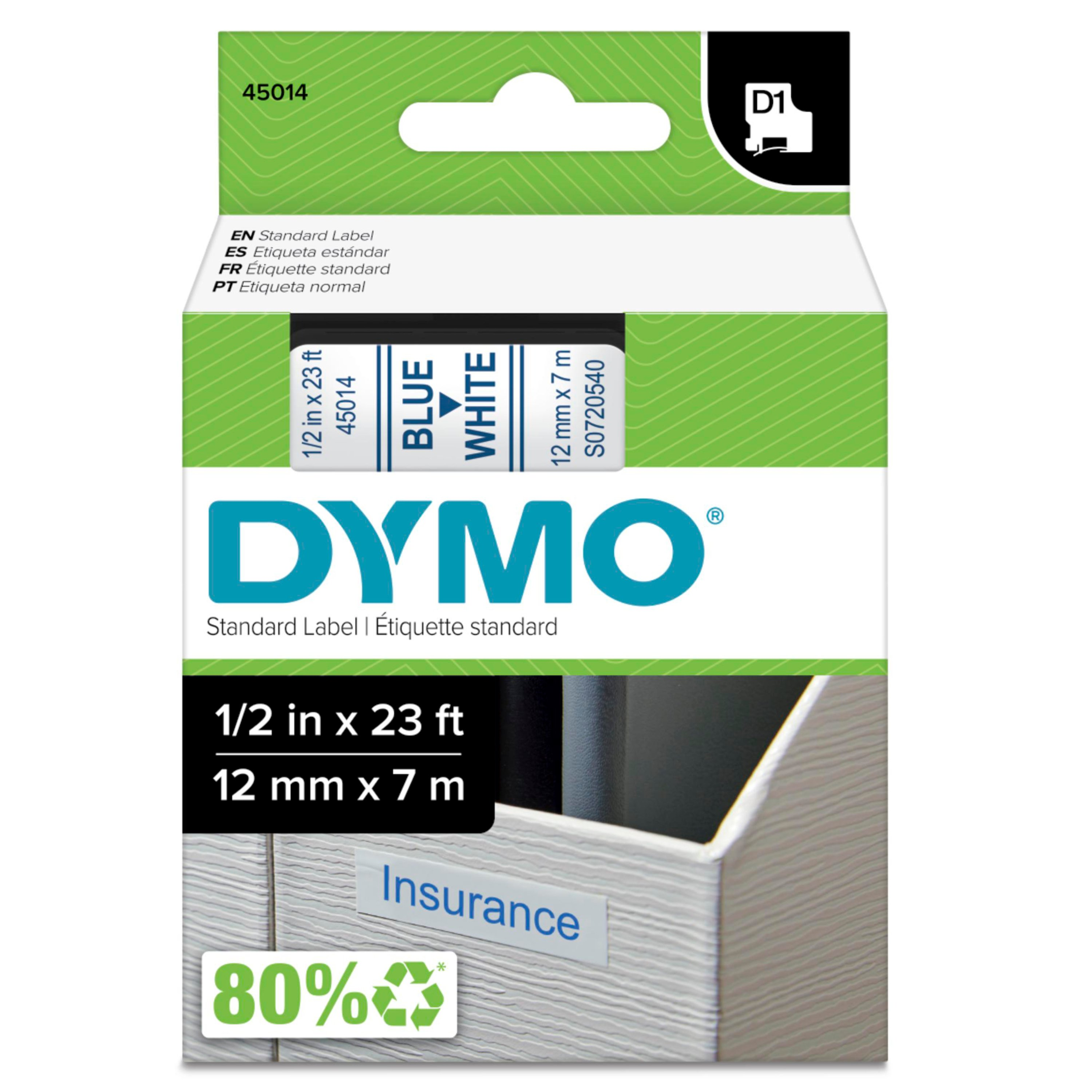 "D1 High-Performance Polyester Removable Label Tape, 1/2"" x 23 ft, Blue on White"