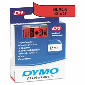 "D1 High-Performance Polyester Removable Label Tape, 1/2"" x 23 ft, Black on Red"