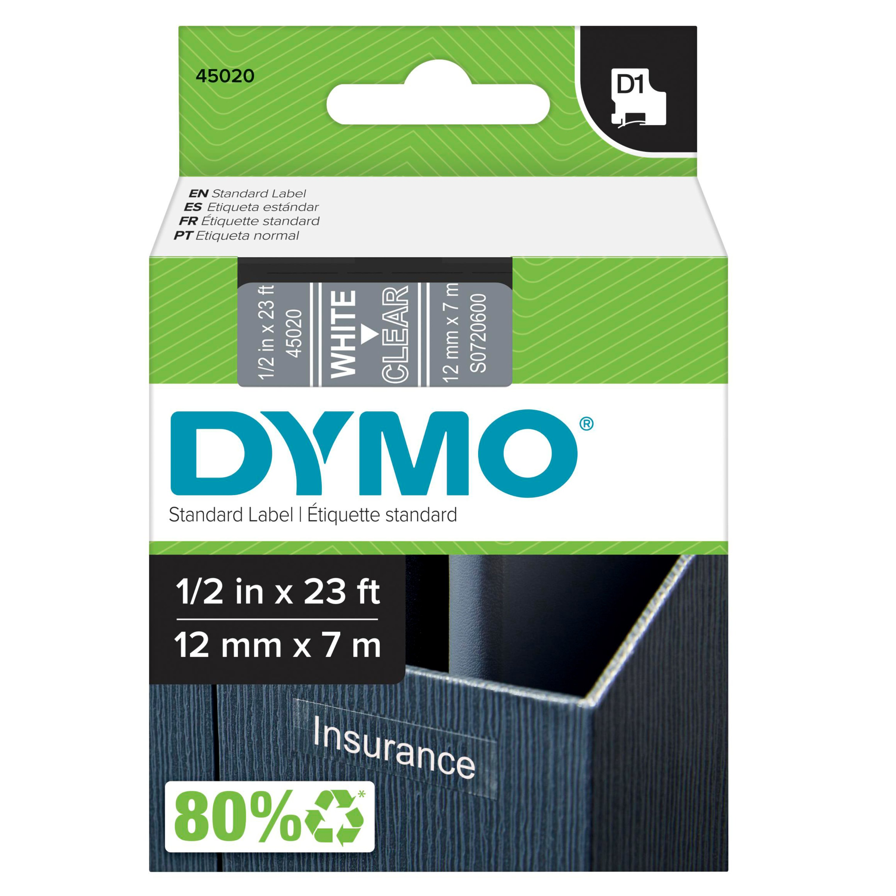 "D1 High-Performance Polyester Removable Label Tape, 1/2"" x 23 ft, White on Clear"