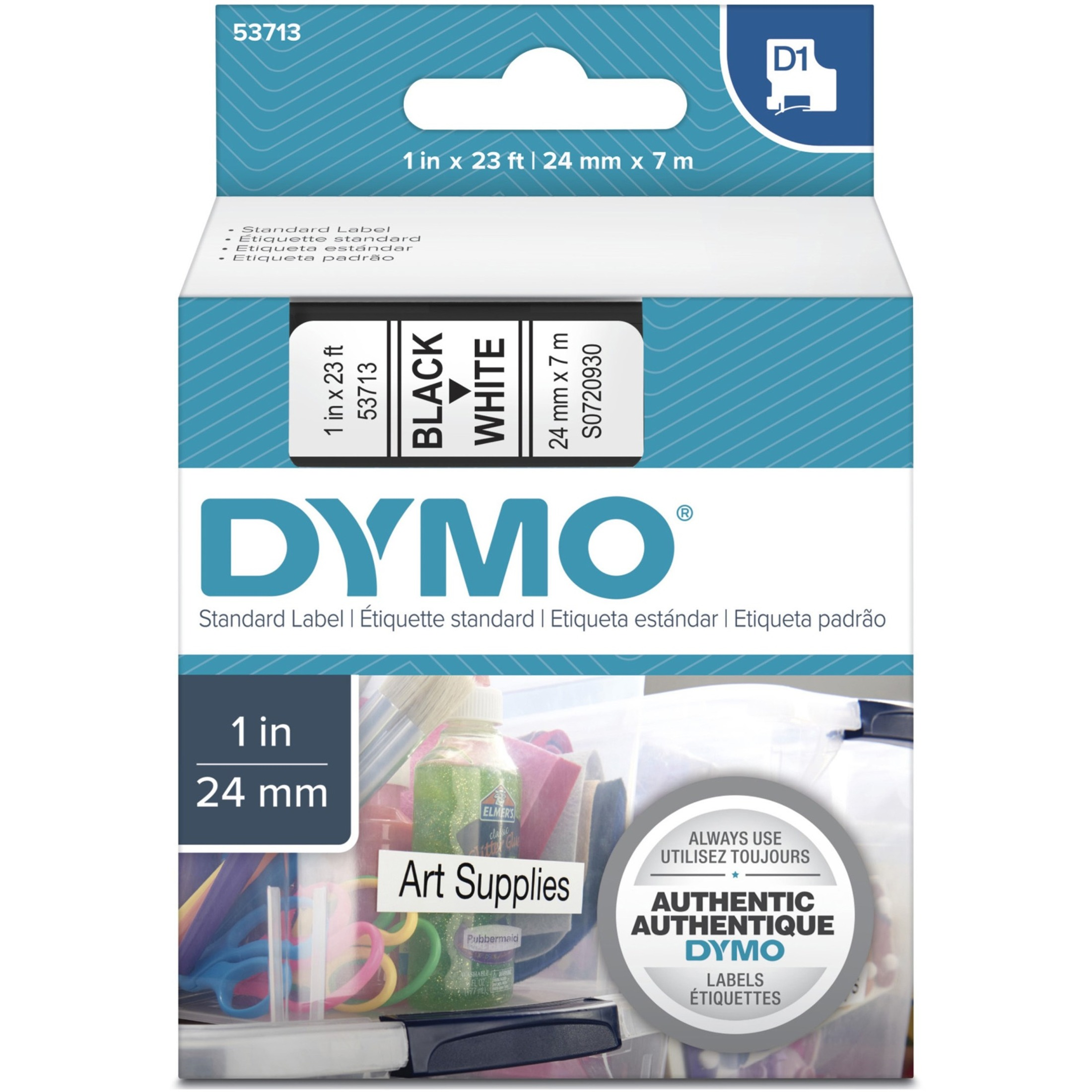 "D1 High-Performance Polyester Removable Label Tape, 1"" x 23 ft, Black on White"