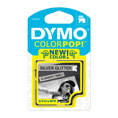 "COLORPOP! Label Maker Tape, 1/2"" x 10 ft, Black on Silver"