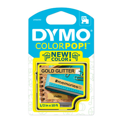 "COLORPOP! Label Maker Tape, 1/2"" x 10 ft, Black on Gold"