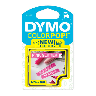 "COLORPOP! Label Maker Tape, 1/2"" x 10 ft, White on Pink"