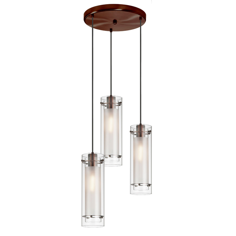 (K)3 Light Round Pendant, Clear Frosted Gls