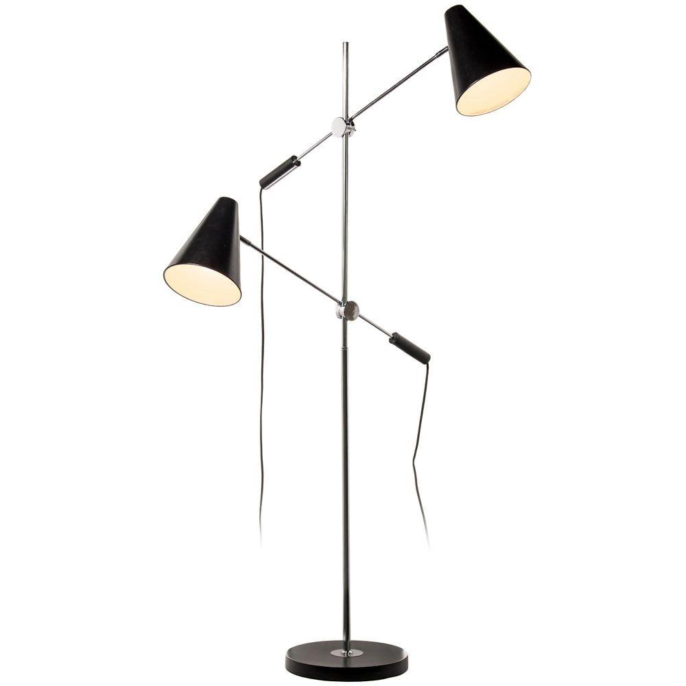 2 Light Floor Lamp, Matte Black Metal Shade, PC