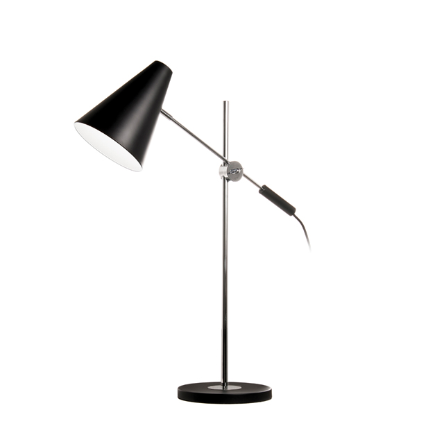1 Light Adjustable Table Lamp, Black & Polished Chrome
