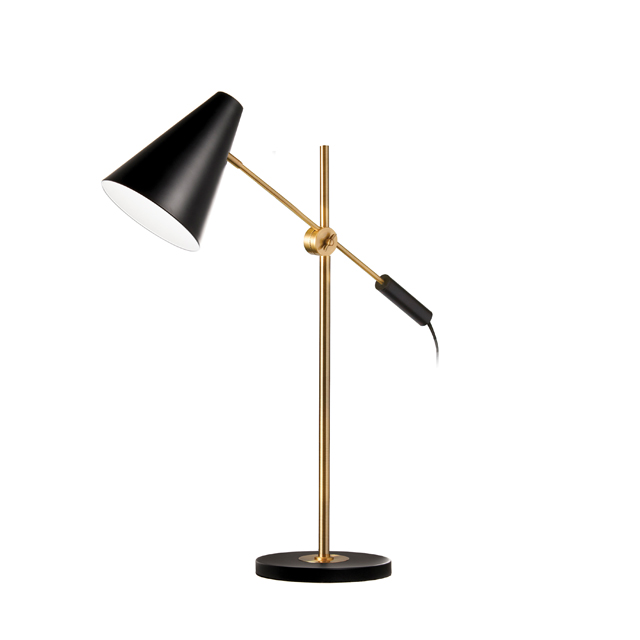 1 Light Adjustable Table Lamp, Black & Vintage Bronze