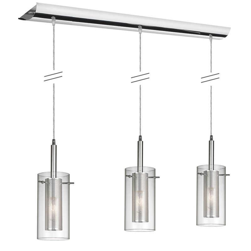 (k)3 Light Horizontal Metal w/ Glass Pendant