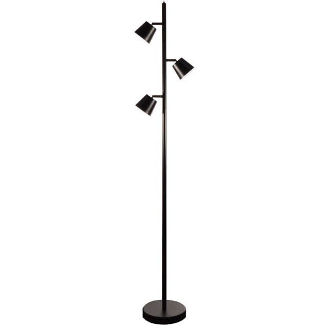 3 Light LED Floor Lamp, BK