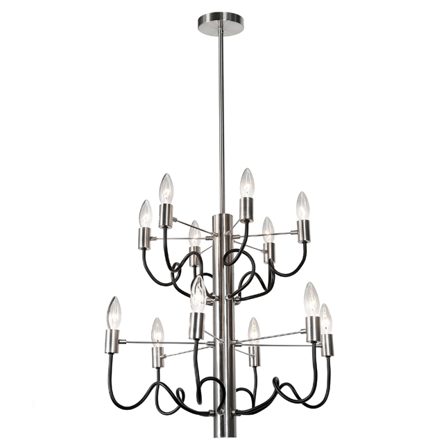 12 Light Chandelier, Satin Chrome & Matte Black Finish