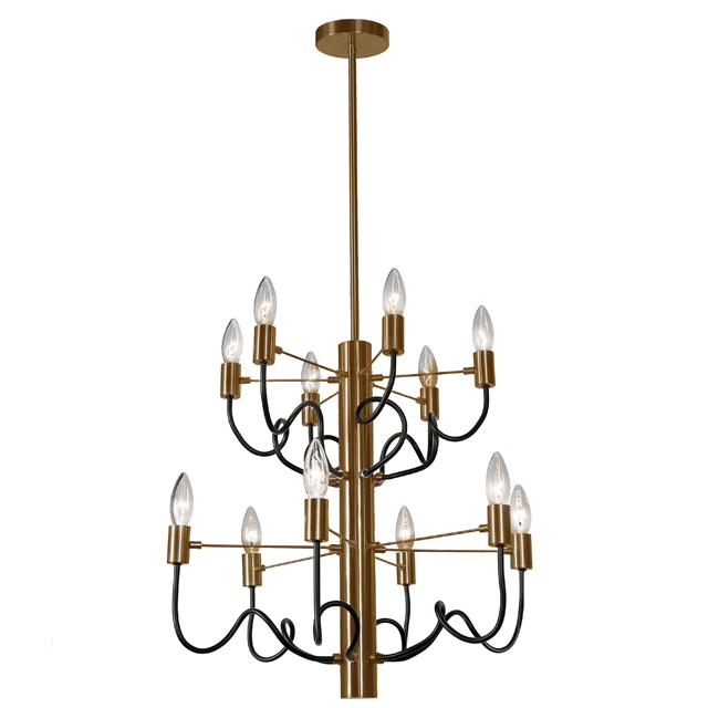 12 Light Chandelier, Vintage Bronze & Matte Black