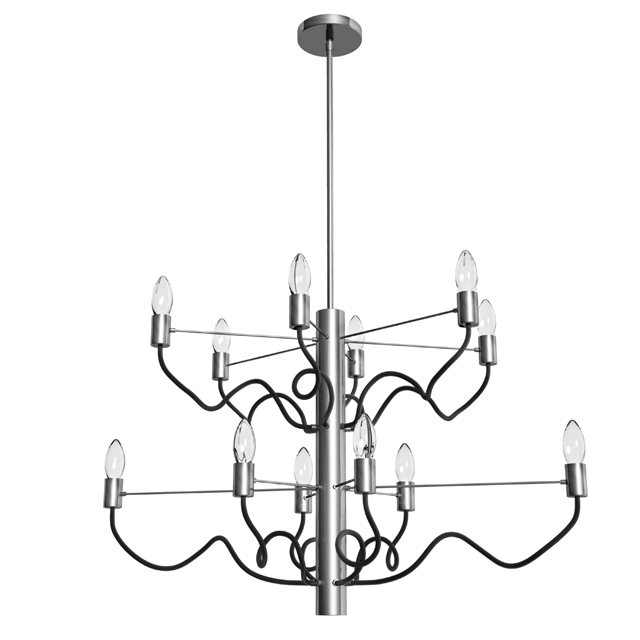 12 Light Oval Chandelier, Satin Chrome & Matte Black