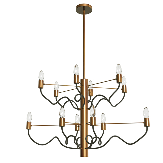 12 Light Oval Chandelier, Vintage Bronze & Matte Black