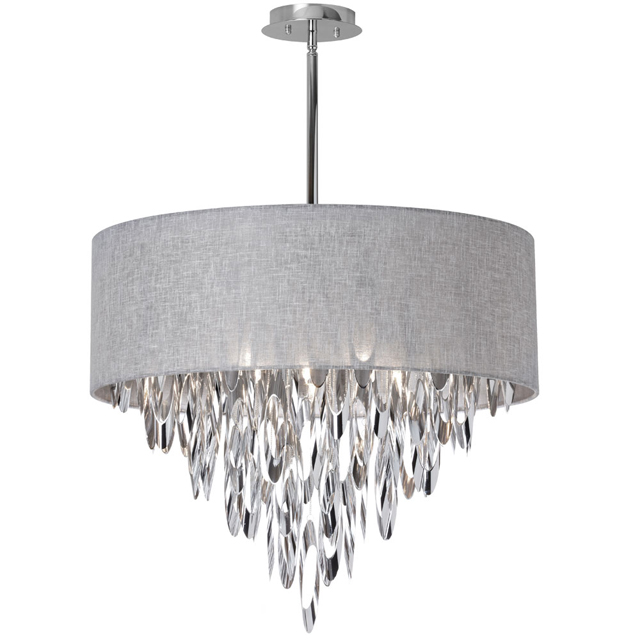(K)8 Light Chandelier w/Gry Camelot Shade