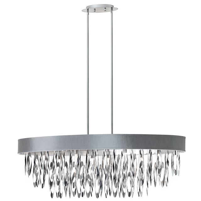 (K)8 Light Oval Chandelier w/SV Shade