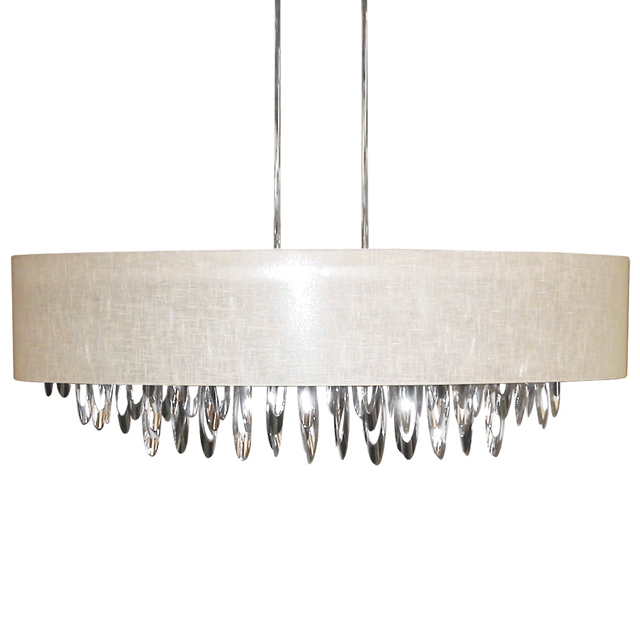 (K)8 Light Oval Chandlier w/Crm Camelot Shade
