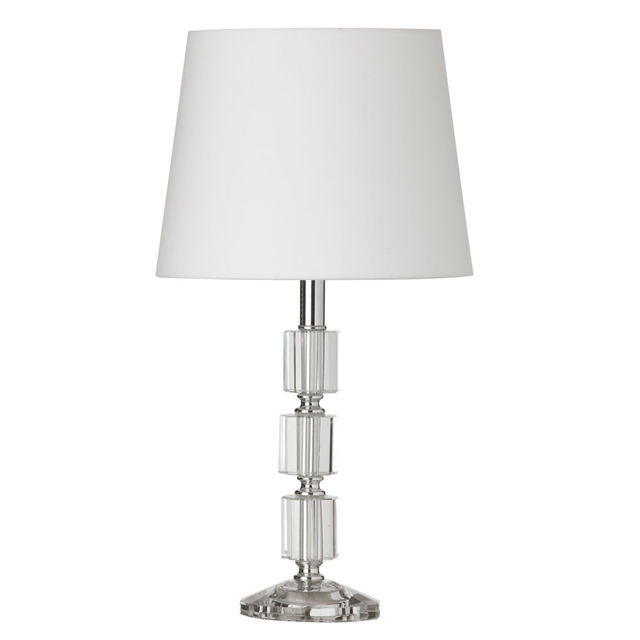1 Light Table Lamp 3Crystal column w/Wht Shade