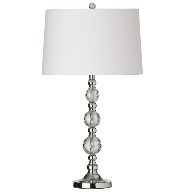 1 Light Table Lamp Cut Crystal Ball w/wht Shade
