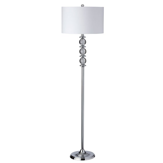 1 Light Floor Lamp Crystal Balls w/Wht Shade