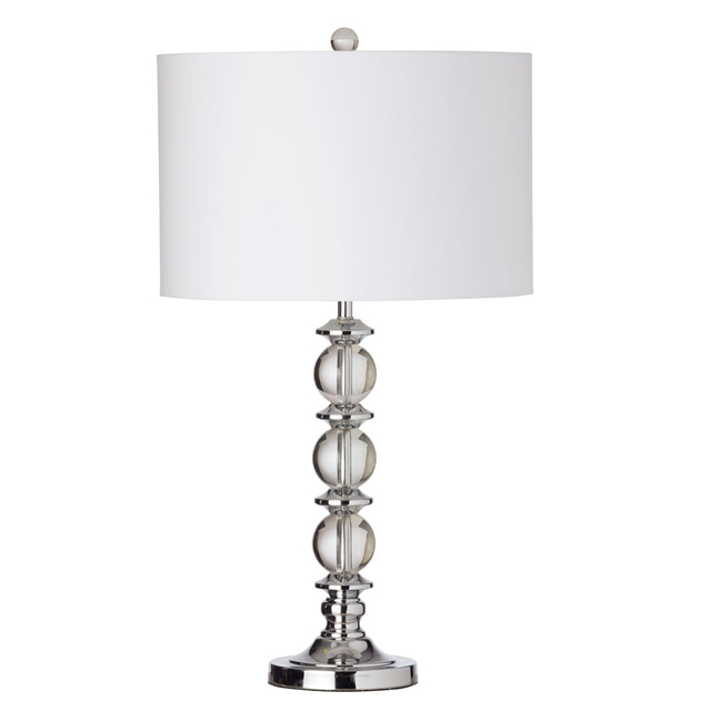 1 Light Table Lamp Crystal Balls w/Wht Shade