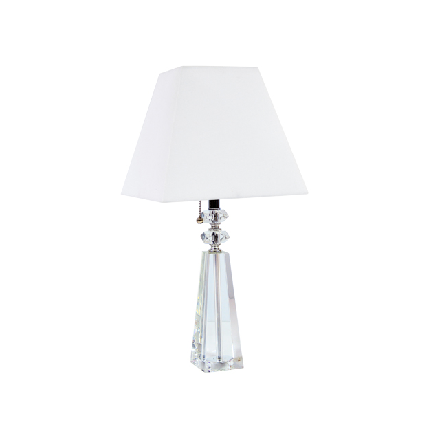 1 Light Crystal Table Lamp, Polished Chrome Finish