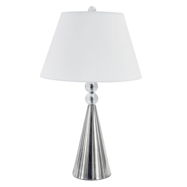 1 Light Crystal Table Lamp, Satin Chrome Finish