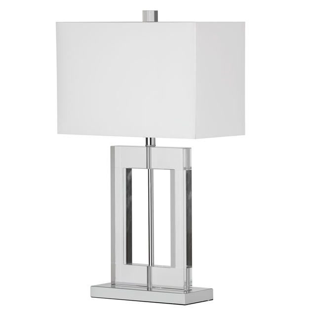 1 Light Table Lamp Rect Crystal w/Wht Shade