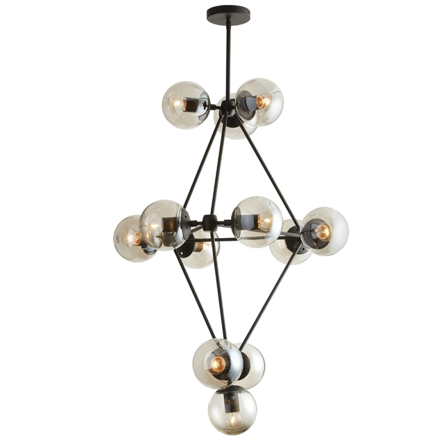 12 Light Chandelier, Matte Black