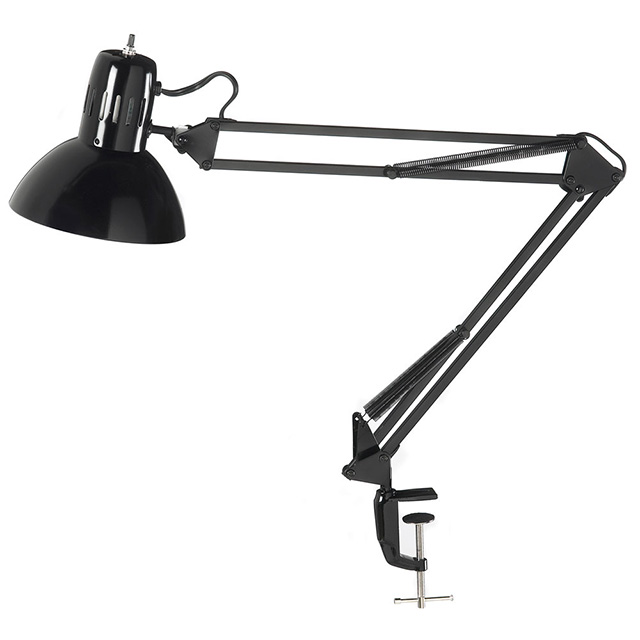 Clamp-On Task Lamp, Gloss Black