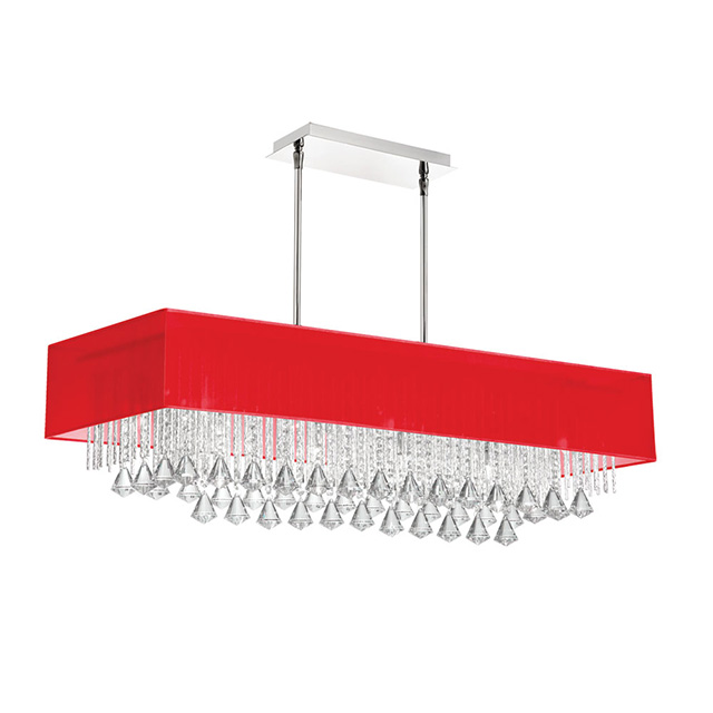 10LT Crystal Horiz Chandelier w/Red Shade