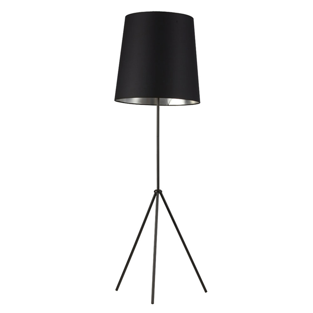 1 Light 3 Leg Drum Floor Fixture w/BK-SV Shade