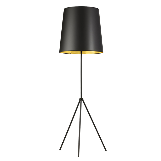 1 Light 3 Leg Drum Floor Fixture w/BK-GLD Shade