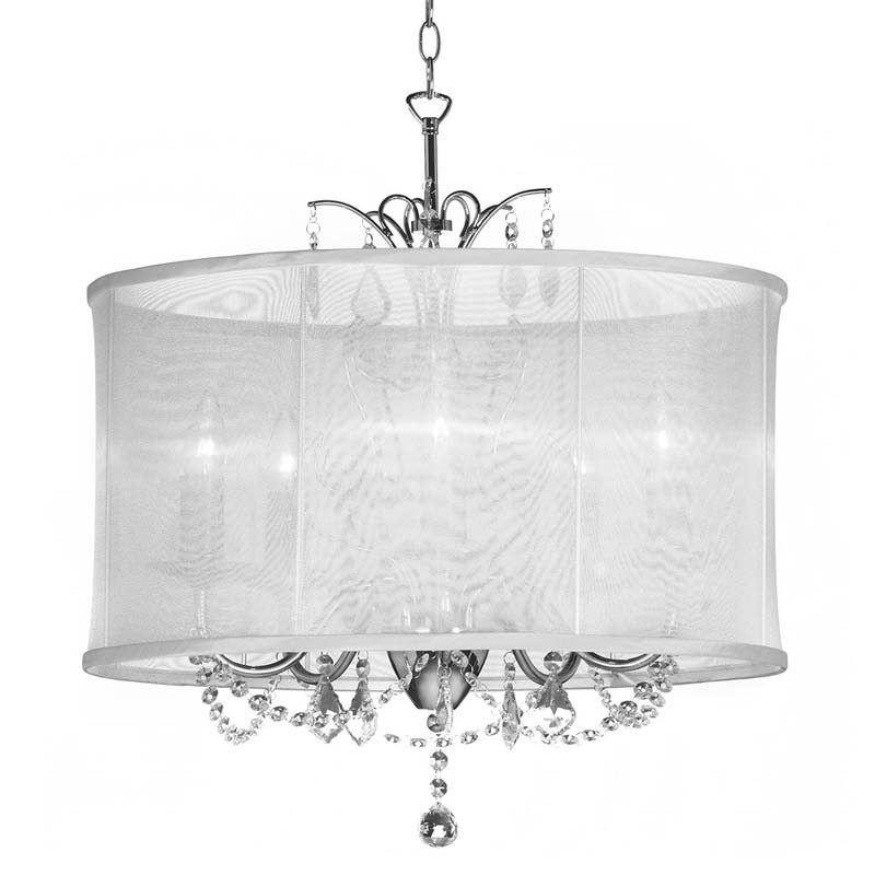 (K)5 Light Crystal Chandelier Wh Shade