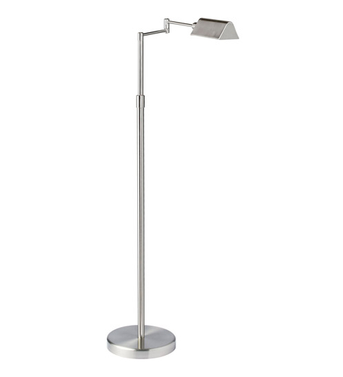 9W LED Swing Arm Floor, Satin Nickel Finish